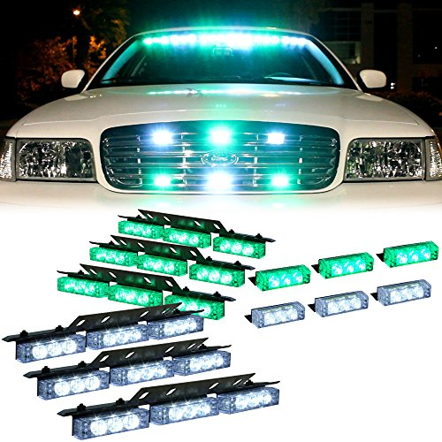 Green White 54X Led Emergency Vehicle Warning Deck Grille Dash Visor Lights - 1 Set