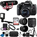 Canon EOS Rebel T6i DSLR CMOS Digital SLR Camera with EF-S 18-55mm f/3.5-5.6 IS STM Lens + Rode Video GO Microphone + 2x Professional Lens + Wide Angle Lens + UV Kit + 32GB Deluxe Accessory Bundle