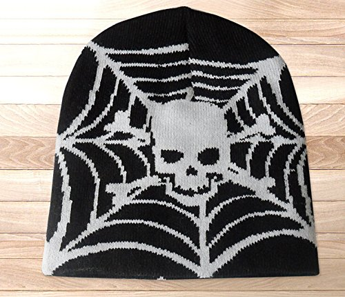 Danny's Dealz® Skulls On Spider Net Print Hot Fashion Winter Warm Knit Beanie Ski Sports Hat Cap for Men and Women+a pen