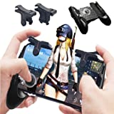 Mobile Game Controller [Bundle], PUBG Mobile Joystick Controller Grip with Triggers, Sensitive Shoot and Aim buttons for Touchscreen devices, Gaming Trigger, Mobile Grip, Joystick Set for Phone Gaming (Color: Black)