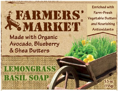 Farmers' Market Natural Bar Soap, Lemongrass And Basil, 5.5 Ounce
