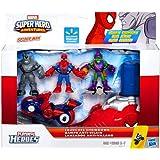 Marvel Playskool Super Hero Adventures Villain Showdown Exclusive Launcher Showdown 3-Pack Spider-Man, Green Goblin & Rhino [with Cycle & Launcher]