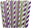 Purple and Gold Chevron and Stripe Paper Straws -Birthday Wedding or Baby Shower Party Supply 100%Biodegradable 7.75 Inches Pack of 100