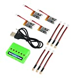 4pcs 1S 3.7V 220mAh LiPo Battery 35C with 6-in-1 Charger and Cable for Eachine E010 JJRC H36 NIHUI NH010 GoolRC T36 RC Quadcopter Drone Spare Parts (Color: 1s 3.7v 220mah Lipo Battery, Tamaño: Small)
