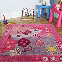 Girl's Colourful Pink Butterfly Soft Princess Kid's Playroom Rug 90 x 90cm