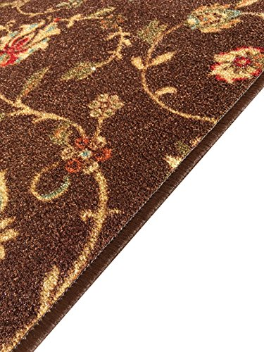"""Brown And Blue Patterned Bathroom Rugs: Rubber Backed 21"""" X 60"""" Chocolate Brown Floral Runner Non"""