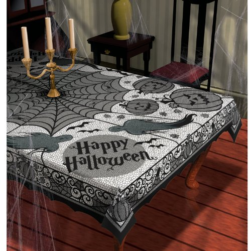Halloween Table Cloth spiderific tablecloth Midnight Lace Fabric 60in X 84in Tablecloth