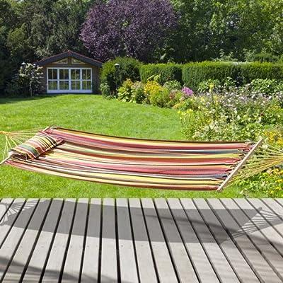 Hängematte mit Holzverstärkungen und abnehmbarem Kissen - sehr widerstandsfähiger Stoff aus Baumwolle und Polyester - Maße 200 x 100 cm - bunt