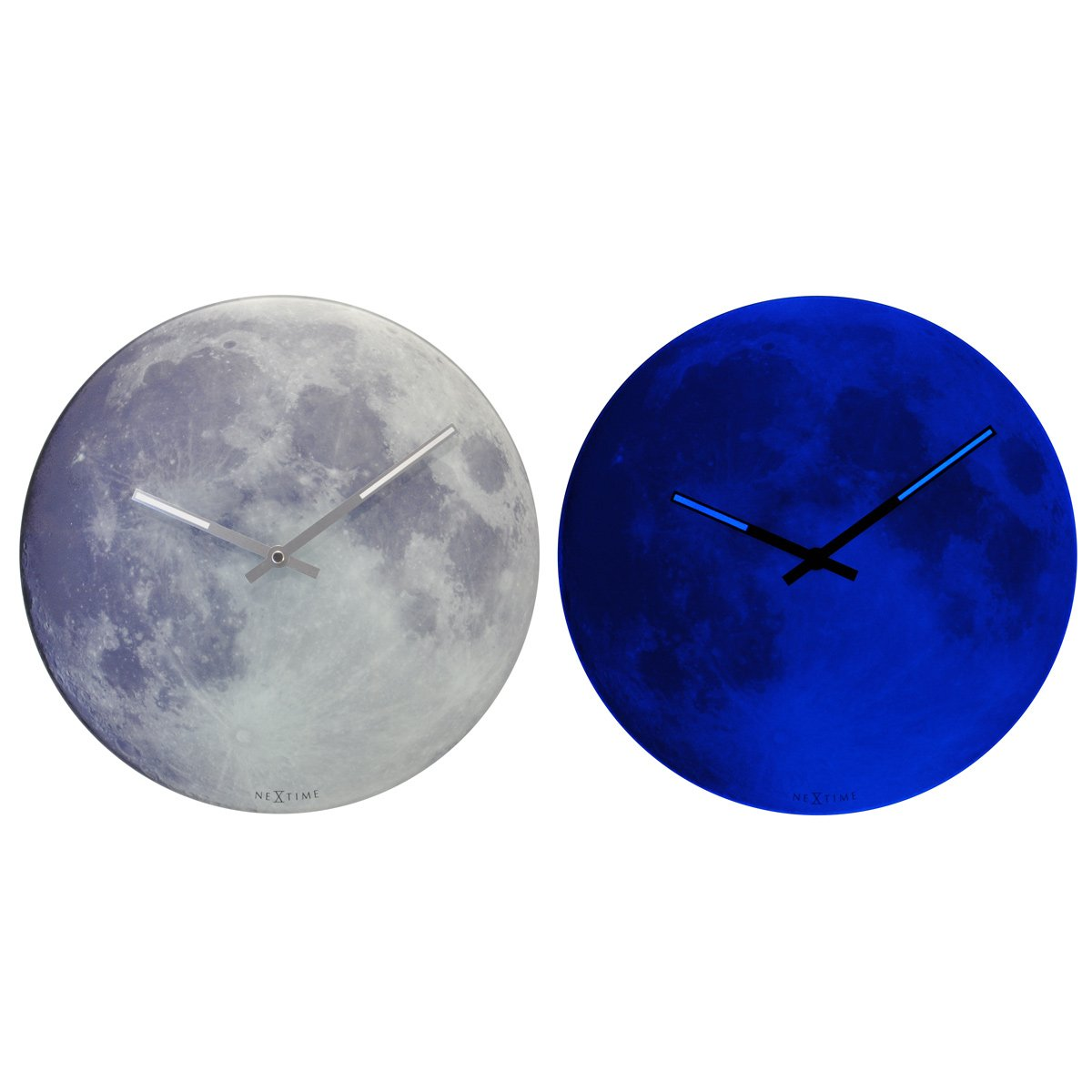 Nextime Blue Moon Wanduhr Kinderuhr Mond, Uhr leuchtet im Dunkeln, Glas Ø 30 cm, 8634 günstig online kaufen