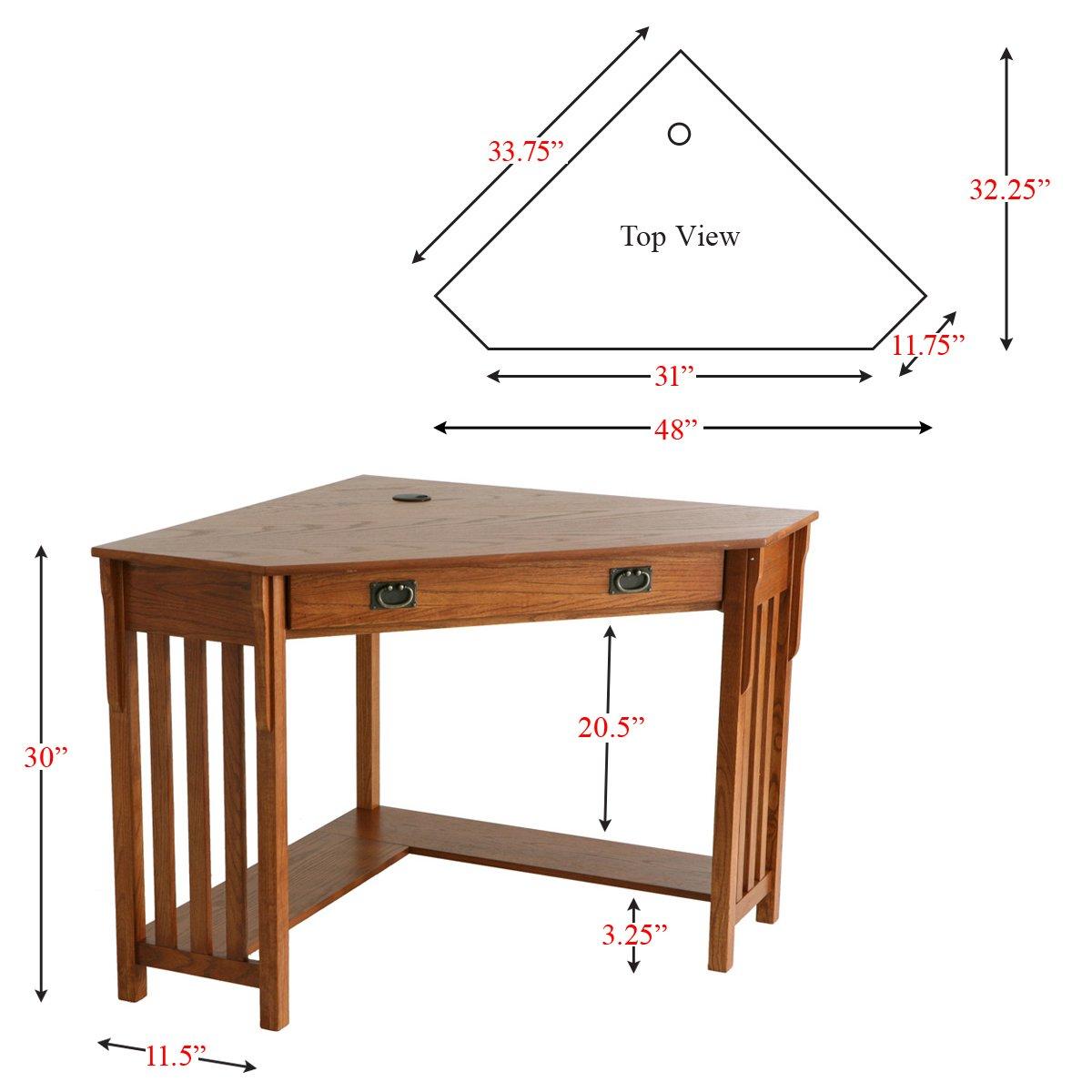Corner Computer Desk - Mission Oak