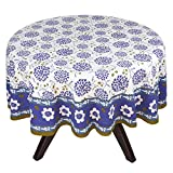 "70"" Round Tablecloth - Exquisite Purple, Green, And Blue Floral Cotton - Handmade Indian Linen"
