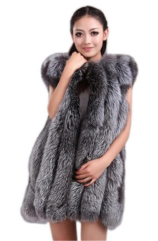 YR Lover Damen Warm Ganze Haut Silver Fuchs Pelz Weste Mantel günstig kaufen
