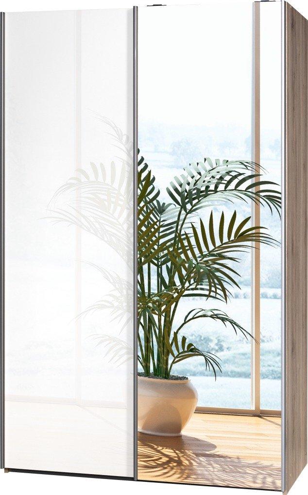 Schwebetürenschrank Soft Plus Smart Typ 42″, 120 x 194 x 61cm, Sanremo hell/Weiß hochglanz/Spiegel