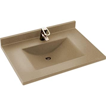 Swanstone CV2237-091 Contour 37-Inch Solid Surface Vanity Top with Barley Basin