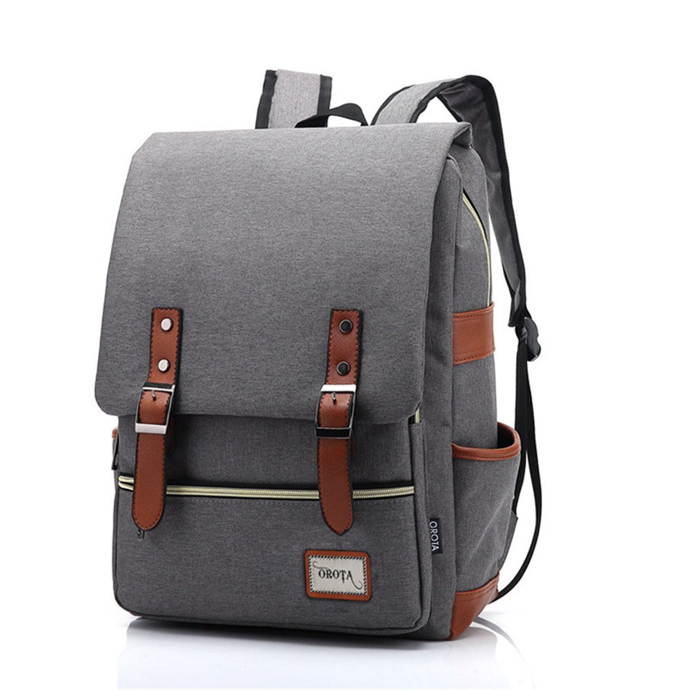 orota Vintage College Backpack School Bookbag Canvas Laptop Backpack 0