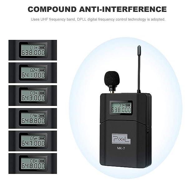 DAZZNE PIXEL SISTEMA DE MICRÓFONOS INALÁMBRICOS UHF INALÁMBRICOS UHF- para cámaras DSLR, Canon, Nikon, Sony y videocámaras (se necesita una interfaz de 3.5 mm (MK-7)
