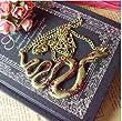 Retro Halskette mit Schlange -Anh�nger (3104) - lange Retro Halskette Kette im Retro-Stil mit Diamanten besetzte Deco Schlange -Anh�nger in Gold