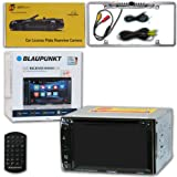 Blaupunkt Car Audio Double DIn 2DIN 6.2 Touchscreen DVD MP3 CD Stereo Bluetooth + Remote with DiscountCentralOnline FL09CH Full License Plate Night Vision Waterproof Back-up Camera (Tamaño: FL09CH Full License Plate [Chrome])