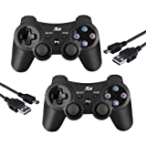 PS3 Controller Wireless Joystick Game Controller 2 Pack with Dual Shock and Free Charger Cable Compatible with Playstation 3 PS3 (Black+Black) (Color: Black+Black)