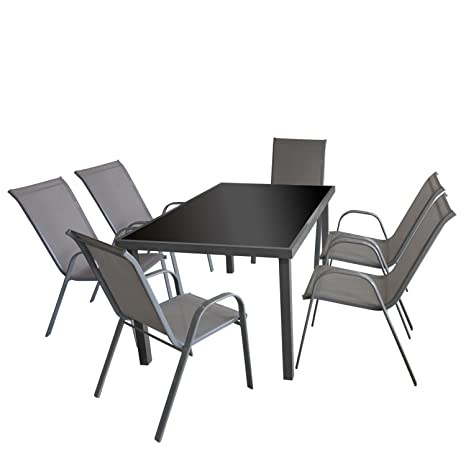 7tlg. Gartengarnitur Glastisch, Aluminiumrahmen grau, Tischglasplatte schwarz, 150x90cm + 6x Stapelstuhl, Textilenbespannung grau / Bistrogarnitur Gartenmöbel Set Sitzgruppe