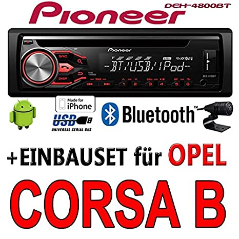 Opel Corsa B - Pioneer DEH-4800BT - CD/MP3/USB Bluetooth Autoradio - Einbauset
