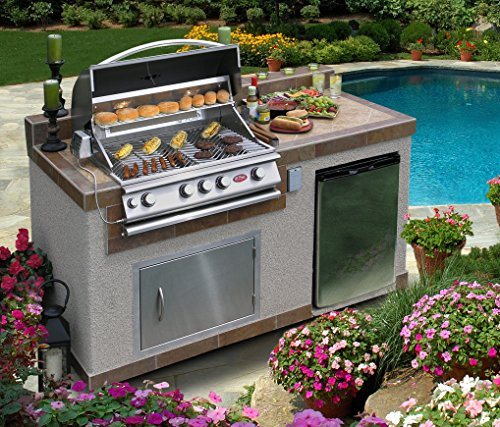 Cal Flame e6004 Outdoor Kitchen 4-Burner Barbecue Grill Island with Refrigerator (Cal Flame Fridge compare prices)
