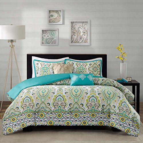 Modern Teen Girls Floral Paisley Aqua Yellow Comforter Bedding Set with Pillows (Twin/twin Xl) Includes Scented Candle Tarts