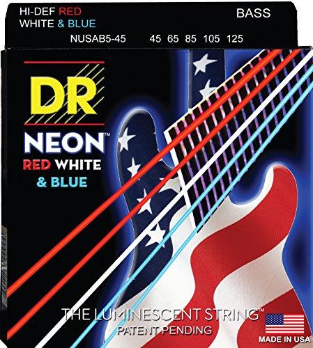 Dr Strings Nusab5-45 Coated Nickel 5-String Bass Guitar Strings, Medium, 45-125, Neon Red/White/Blue