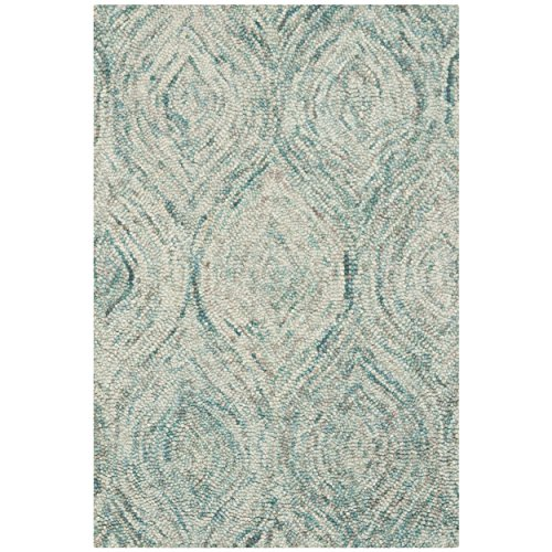 Safavieh Ikat Collection IKT631A Handmade Ivory and Sea Blue Wool Area Rug, 2 feet by 3 feet (2' x 3')