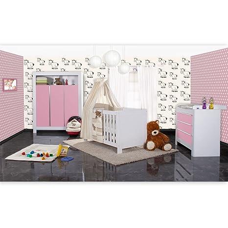 Babyzimmer Felix in weis/rosa 21 tlg. mit 3 turigem Kl + Prestij in beige