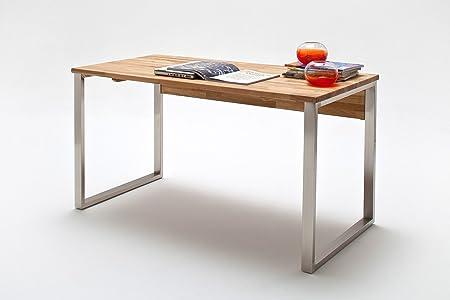 Schreibtisch mit Tischplatte in Asteiche massiv, geölt, Gestell in Edelstahl Optik geburstet, Maße: B/H/T ca. 140/76/70 cm