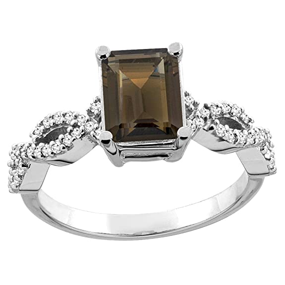 Revoni 14ct White/Yellow Gold Natural Smoky Topaz Eternity Ring Octagon 9x7mm Diamond Accent