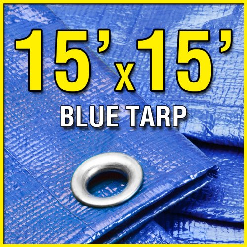 15' X 15' Blue 6-mil Waterproof Poly Tarp Boat Cover 15x15 Tarpaulin for Camping Tent Shelter Shade Canopy Woodpile Roof etc.