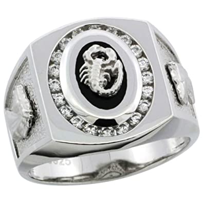 Revoni Sterling Silver Men's Black Onyx Scorpion Ring w/ CZ Stones & Horse Head on Sides, 11/16 in. (17mm) wide