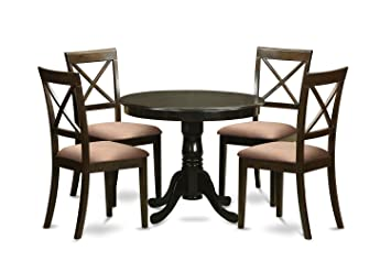 East West Furniture ANBO5-CAP-C 5-Piece Kitchen Table and Chair Set, Cappuccino Finish