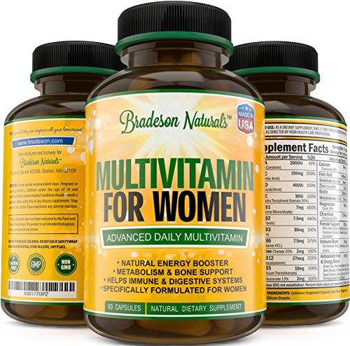 Bradeson Naturals Women's Multivitamin. Immune & Female Support + Antioxidant & Natural Energizers. Vitamins A C D E & Vitamin B Complex. Non-GMO, Gluten Free, Made in the USA (Multivitamin Gel Caps compare prices)