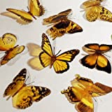 Butterfly 3D Translucent Decoration 12 YELLOW Butterflies
