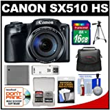 Canon PowerShot SX510 HS Digital Camera (Black) with 16GB Card, Case & Bundle Kit