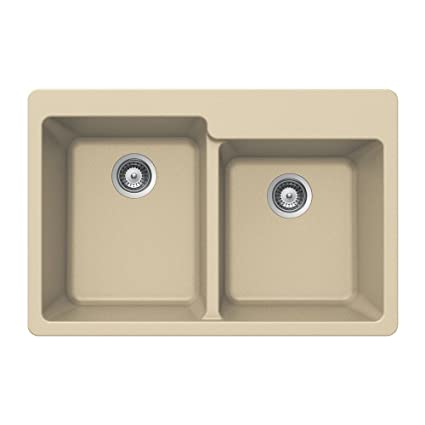 Houzer M-175 SAND Quartztone Series Granite Top Mount 60/40 Double Bowl Kitchen Sink, Biscuit