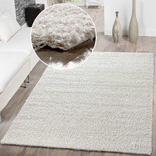 Shaggy Tappeto a pelo lungo pelo per tappeti salotto prezzo martello diversi colori, Crema, 70 x 140 cm