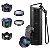 (Upgraded Version) Phone Camera Lens, 5 in 1 Cell Phone Lens Kit, Macro Lens, Wide Angle Lens, Fisheye Lens, CPL, Starburst Lens, with Storage Tube, for iPhone X 8 7, Smartphones (Color: Blackk)