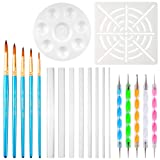 COCODE 20pcs Mandala Dotting Tools Dot Kit Rock Painting Pen with Paint Stencil,Brush,Paint Tray,Acrylic Rods and Point Drill Tool for Painting Rock,Coloring,Drawing & Drafting,Kids' Crafts,Nil Art
