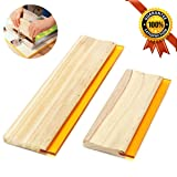 Porpor Booya 2 Pieces 2 Sizes Screen Printing Squeegee, 75 Durometer Wooden Ink Scraper for Screen Printing, 9.4 and 5.9 inch