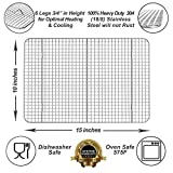 """Kitchenatics Commercial Grade 10""""x15"""" Stainless Steel Cooling and Roasting Rack Heavy Duty Thick-Wire Grid Fits Jelly Roll Pan Oven-Safe Rust-Resistant"""