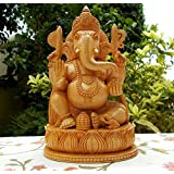 "8"" Inches Wooden Ganesha Ganesh Statue - Handmade Home Decor Diwali Gift"