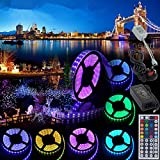 TWOPAGES 10M 12V Flexible Color Changing LED Strip Lights 32.8Ft SMD5050 RGB With 44key LED Controller and 12V5A Power Adapter Non-Waterproof for Party Wedding Home Decoration