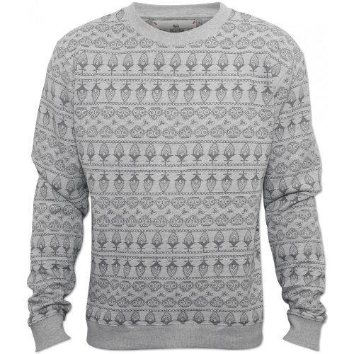 Bellfield Mens Grey Nicol Jumper Aztec Design Crew Neck Collar Grey XX-Large
