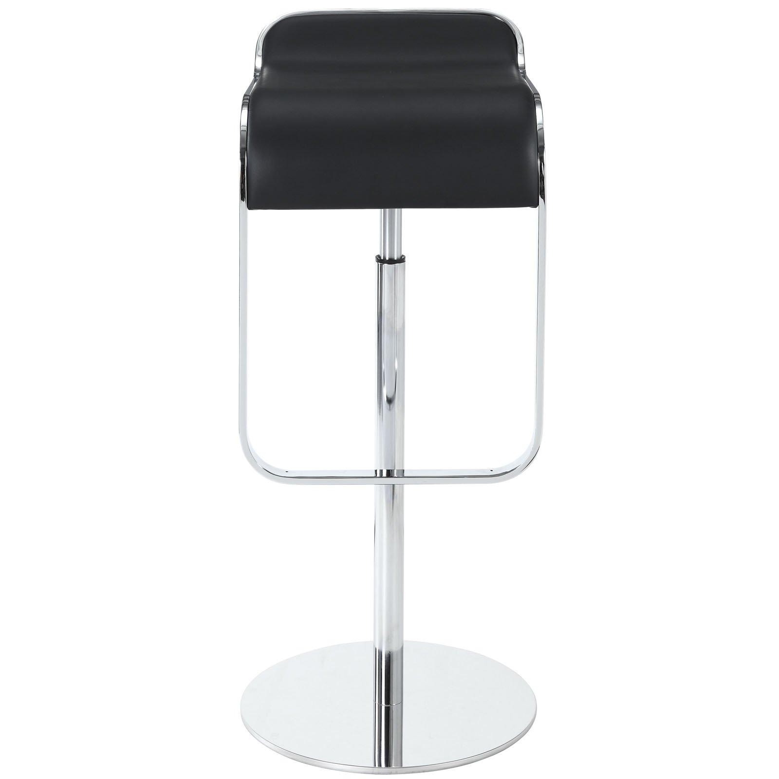 Lexmod Lem Style Piston Bar Stool In Black Genuine Leather