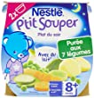 Nestl� B�b� P'tit Souper Pur�e du Soir aux 7 L�gumes - d�s 8 mois - 2 x 200g - Lot de 8 (16 pots de 200g)
