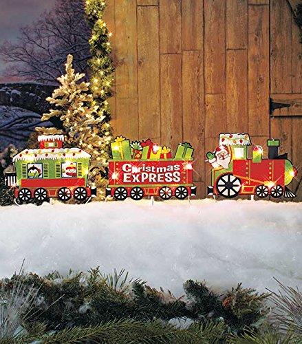 Santa christmas express train christmas yard decoration for Outdoor christmas train decoration